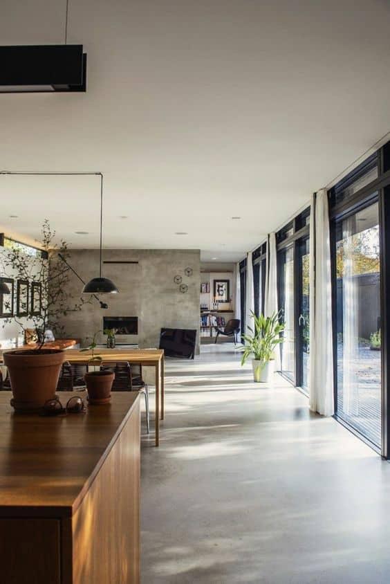 betonvloer ruime keuken woonkamer